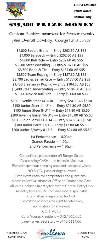 Mullewa Rodeo Entry Fees